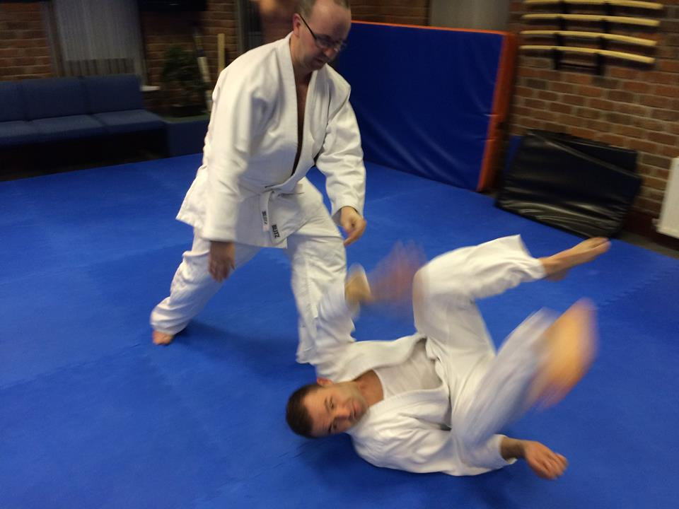 Aikido students practicing their skills
