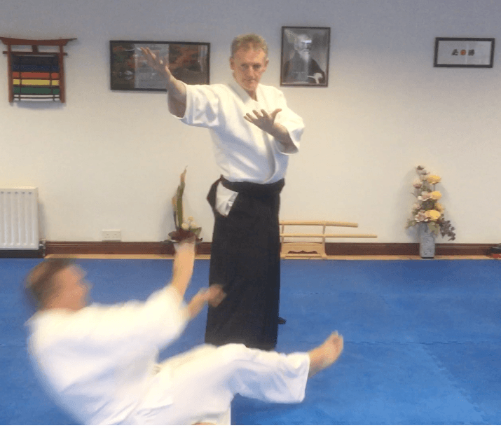 Teacher and student practicing aikido
