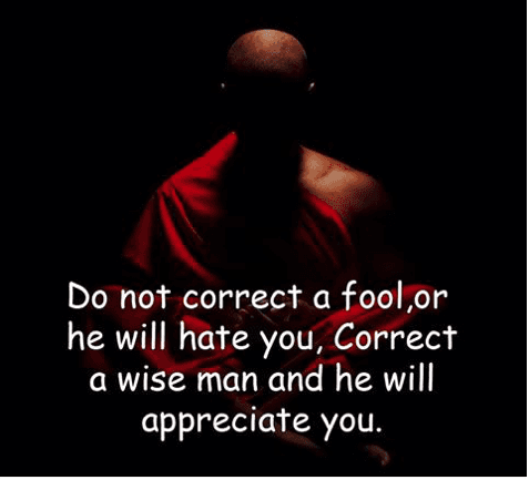 A monk is advising to think before you correct another person.