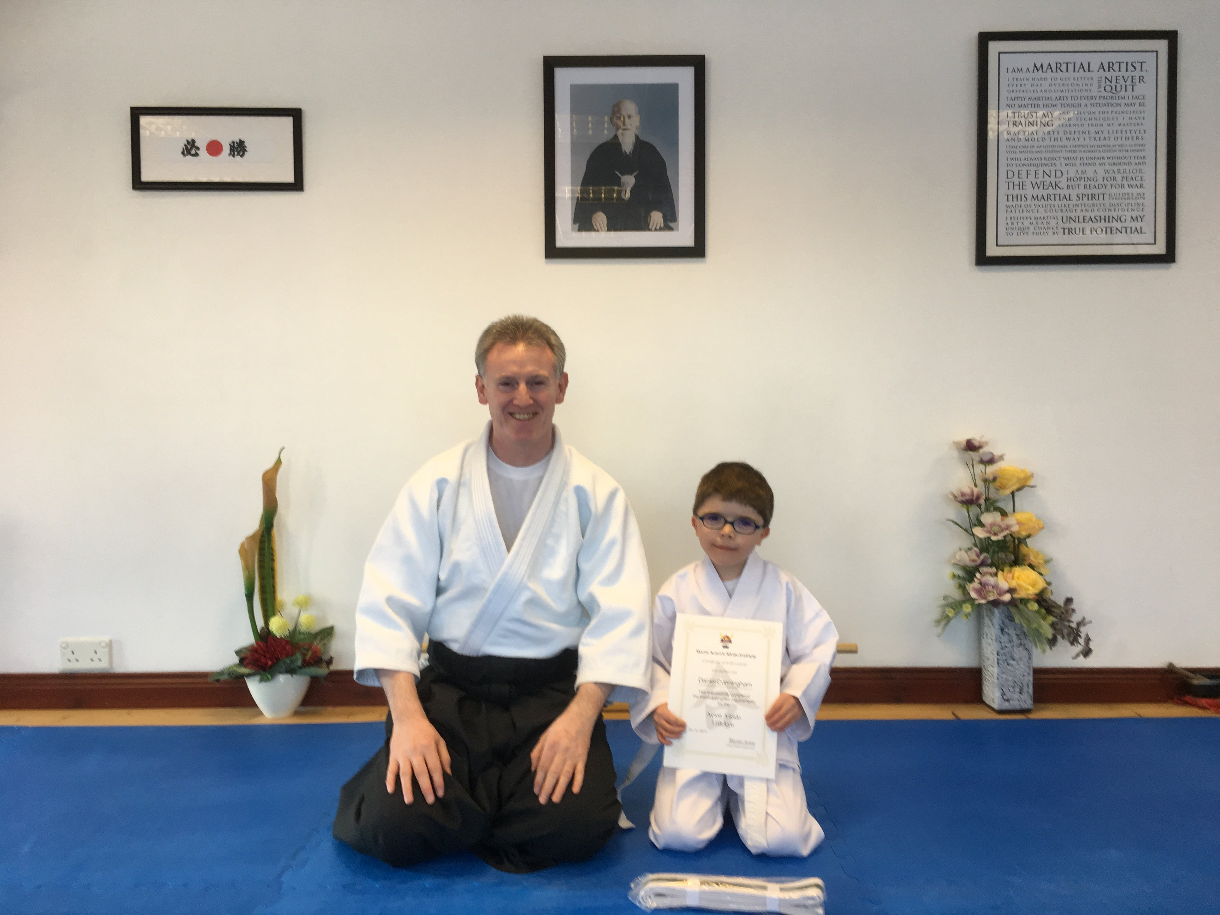 Daniel Cunningham receiving his Aikido 11th kyung grading with Martin Acton sensei 26/4/2017 at Martin Acton's Aikido Institute 100 Church Street Dromore BT251AA.