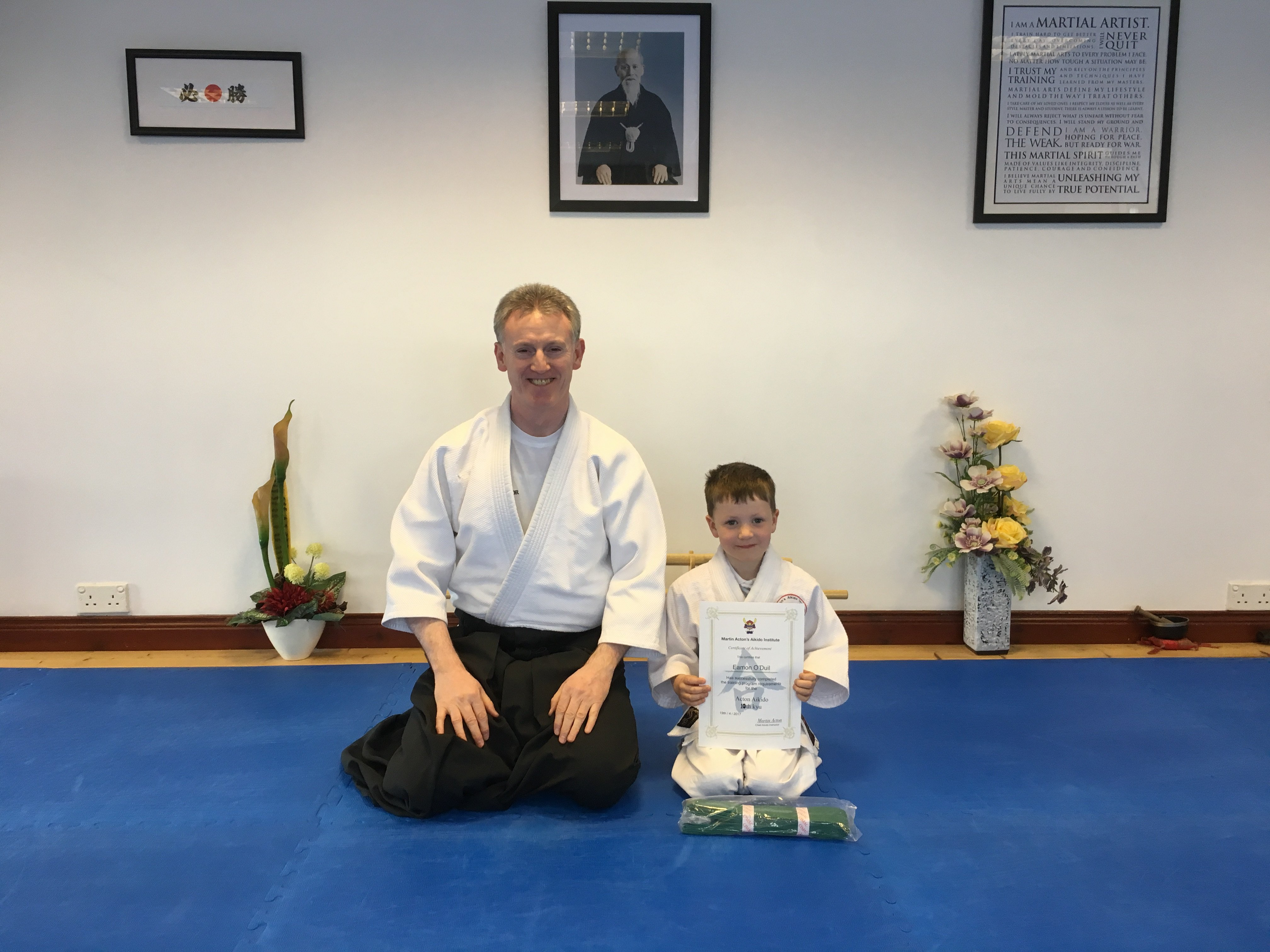 Eamon O'Duil receiving his Aikido 10th kyu  certification with Martin Acton sensei on 19/4/17 at Martin Acton's Aikido Institute.