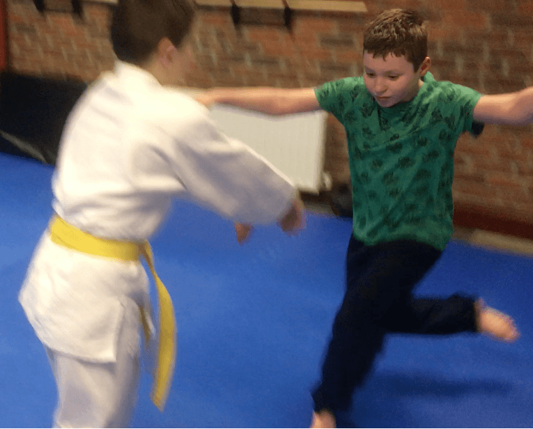 Two children learning Aikido