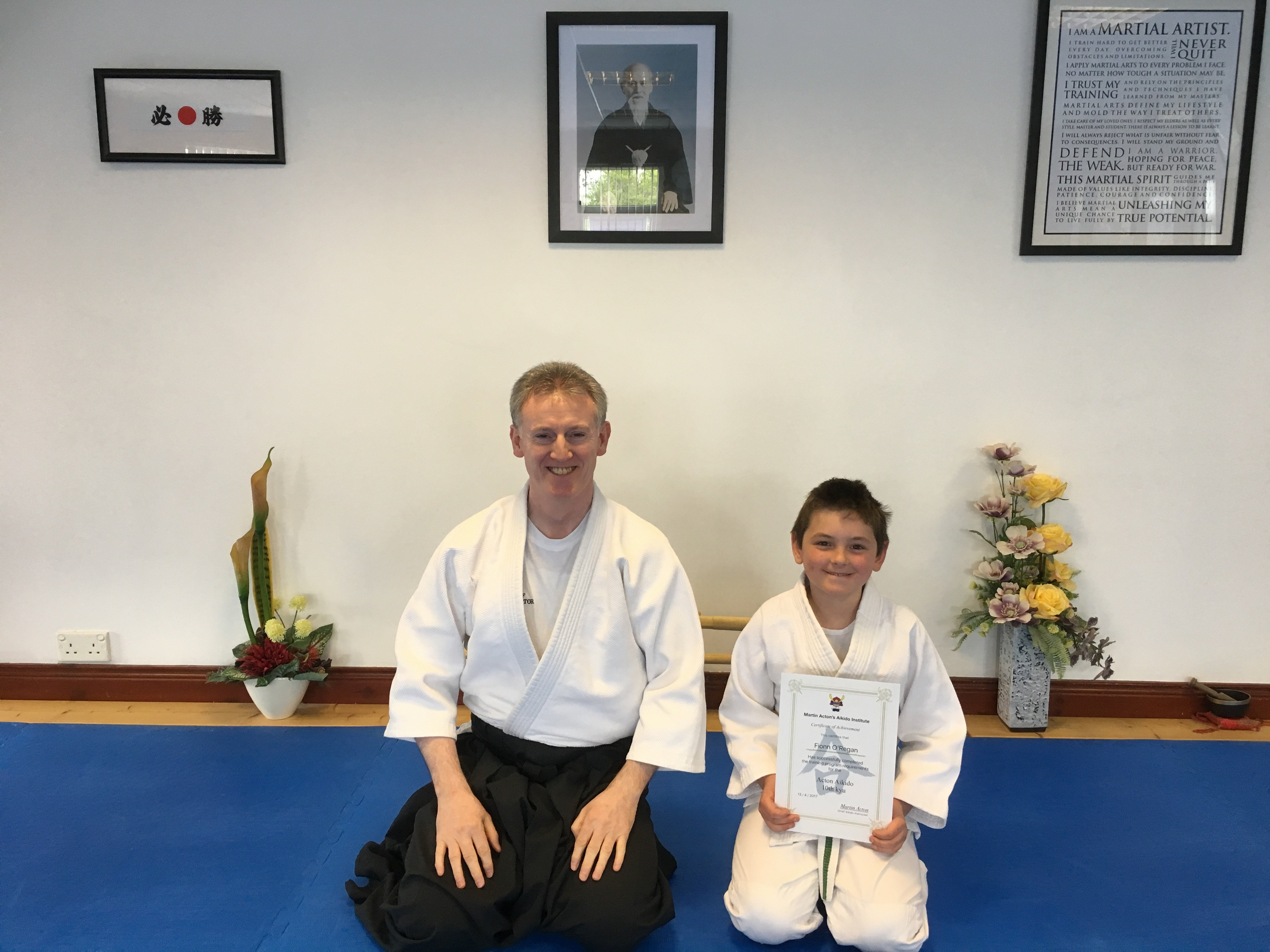 Fionn O'Regan receiving his 11th kyung certification with Martin Acton Sensei 13.4.2017