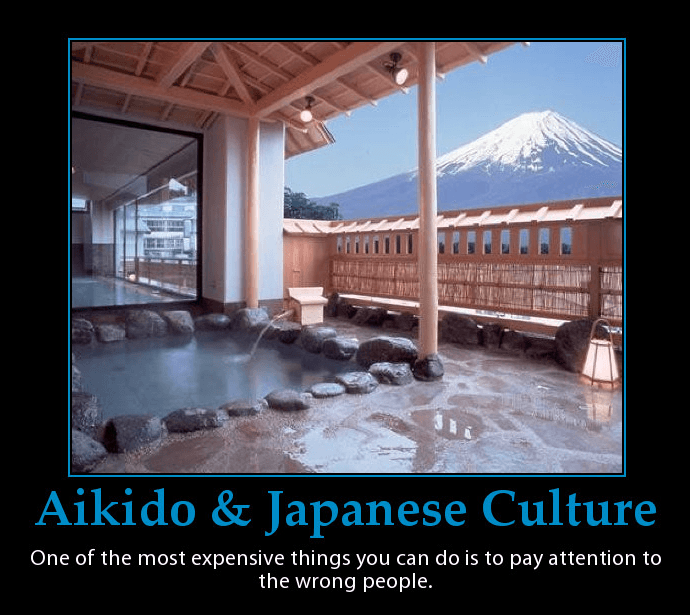 Poster of Japanese public bath this Mount Fuji in background. Martin Acton's Aikido Institute.