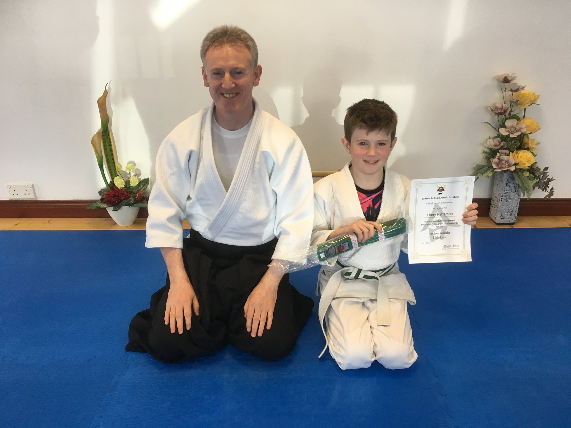 Harry Patterson receiving his Aikido 11th kyu grading on the 13/5/2017 at Martin Acton's Aikido Institute