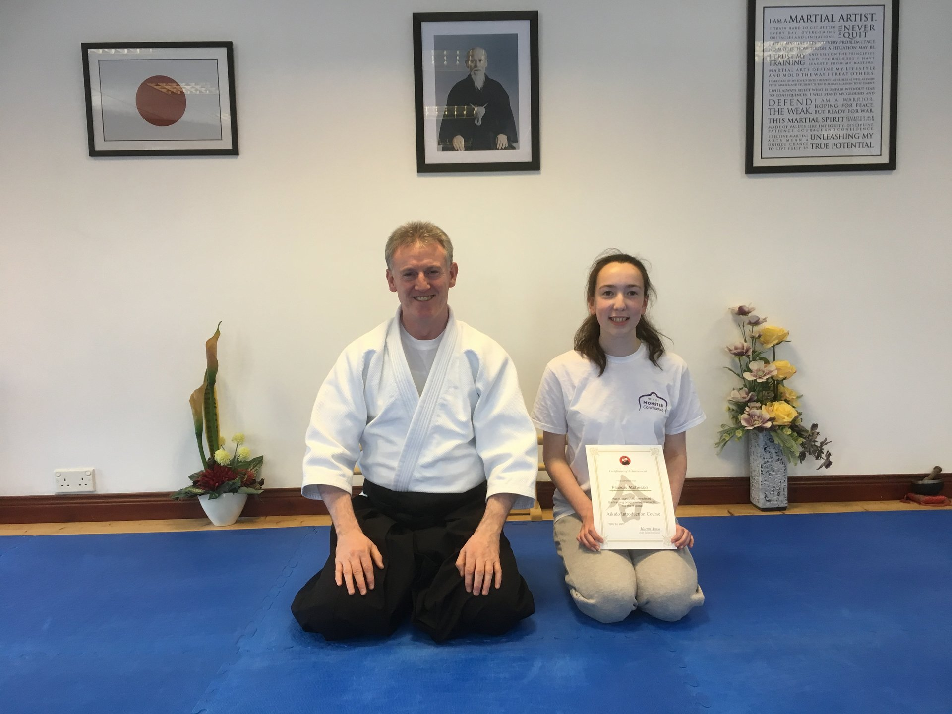 Francis Atcheson receiving her Aikido 8-week introduction course certification  with Martin Acton on the 15th/6/2017 at Martin Acton's Aikido Institute.