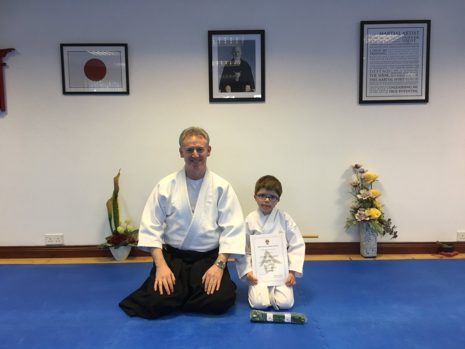 Daniel Cunningham receiving his Aikido 10th kyu certification with Martin Acton sensei on12/9/2017.