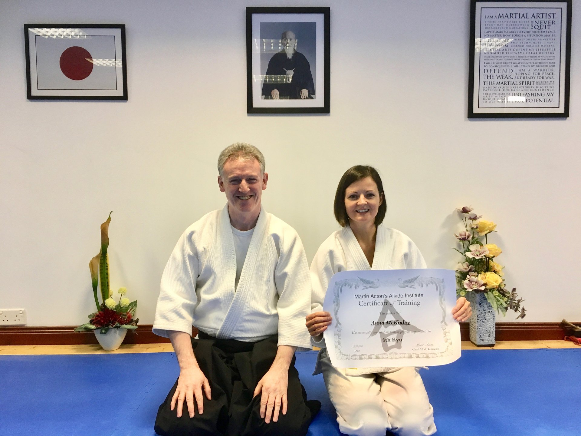 Anna McKinley receiving her Aikido 4th kyu certification with Martin Acton Sensei on the 29/11/2017 at martin Acton's Aikido Institute