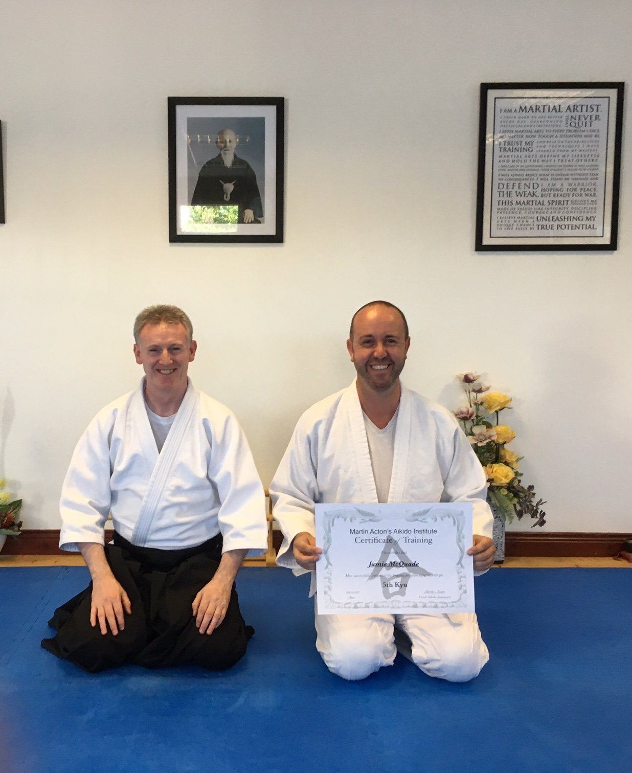 Jamie McQuade getting his Aikido 5th kyung grading  with Martin Acton sensei  on the 27/6/17 at Martin Acton's Aikido Institute