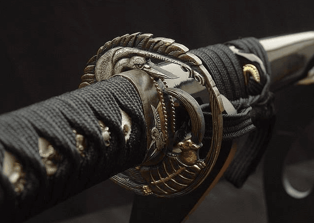Close up of black Japanese sword