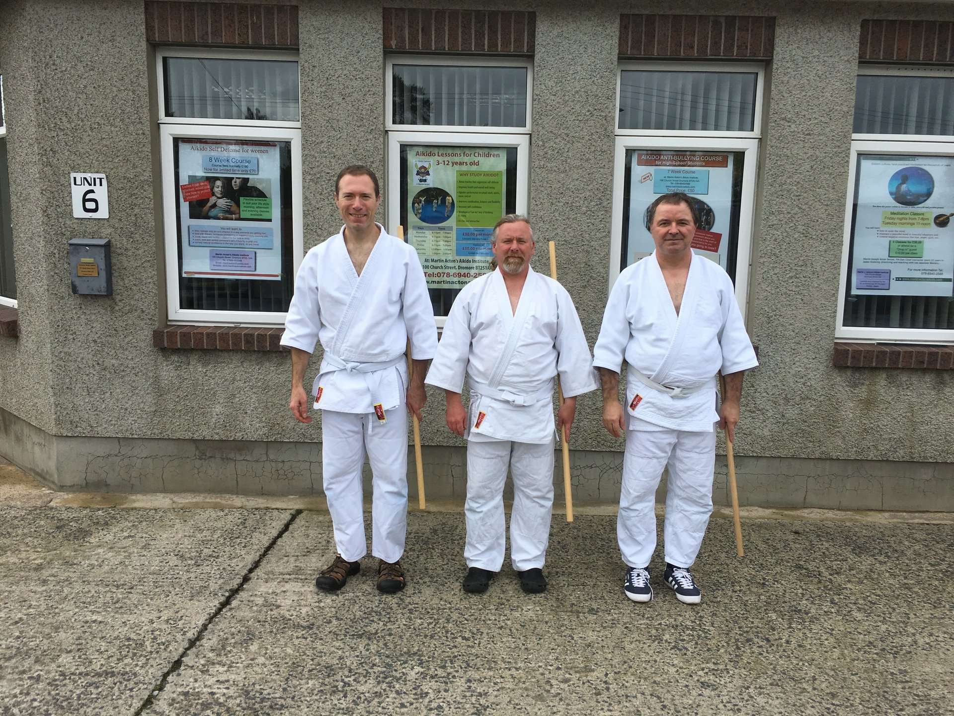 Aikido students Stuart Gilmore, Stephen Millar and Marian Bohacek at th start of the seminar standing outside  the Institute