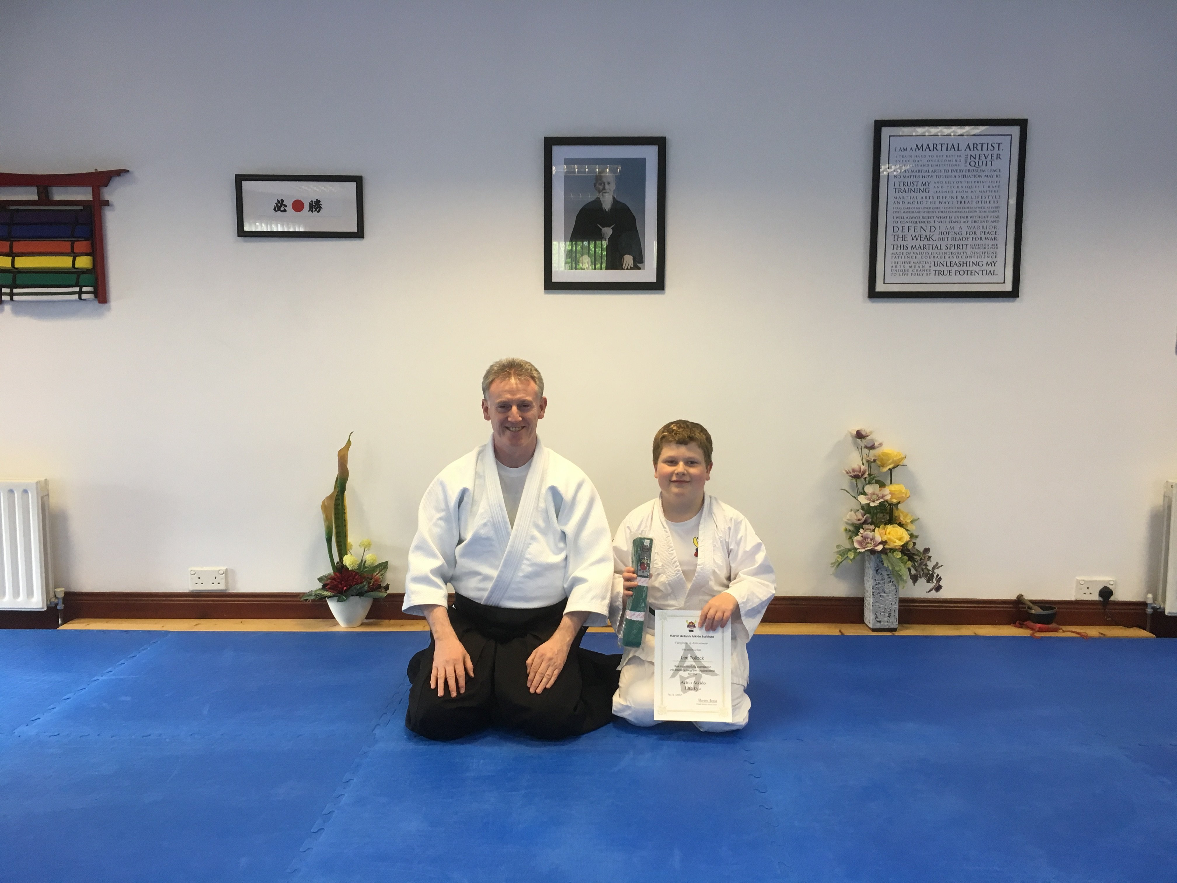 Lee Pollock receiving his Aikido 10th kyung grading with Martin Acton sensei 18/5/2017
