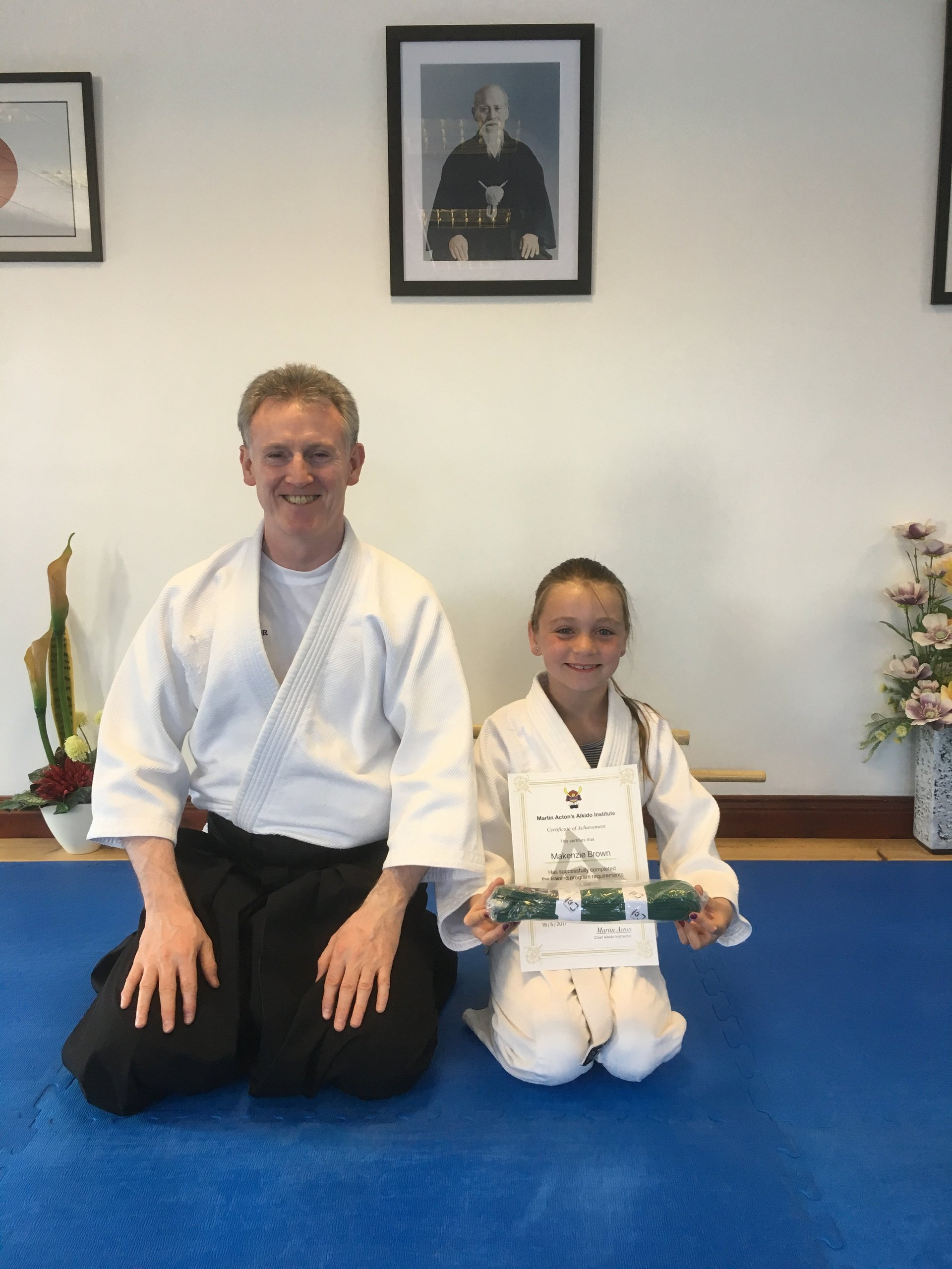 Mackenzie Brown getting her Aikido 10th kyu grading certification with Martin acton sensei on the 19/5/2017 at martin Acton's Aikido Institute.