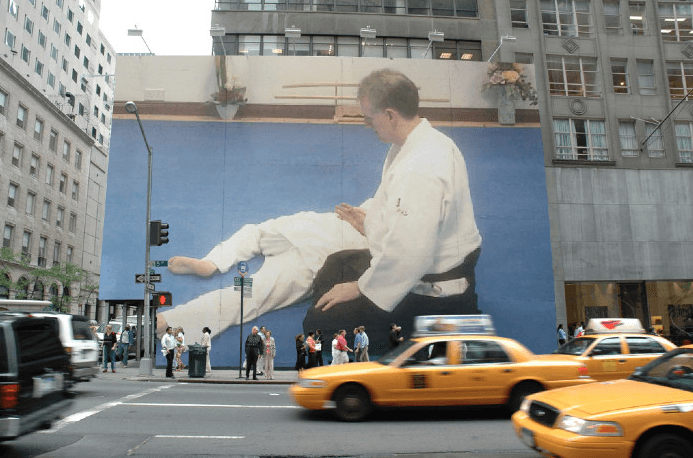 This is a billboard poster in New York of Martin Acton sensei doing Aikido. Martin Acton's Aikido Institute