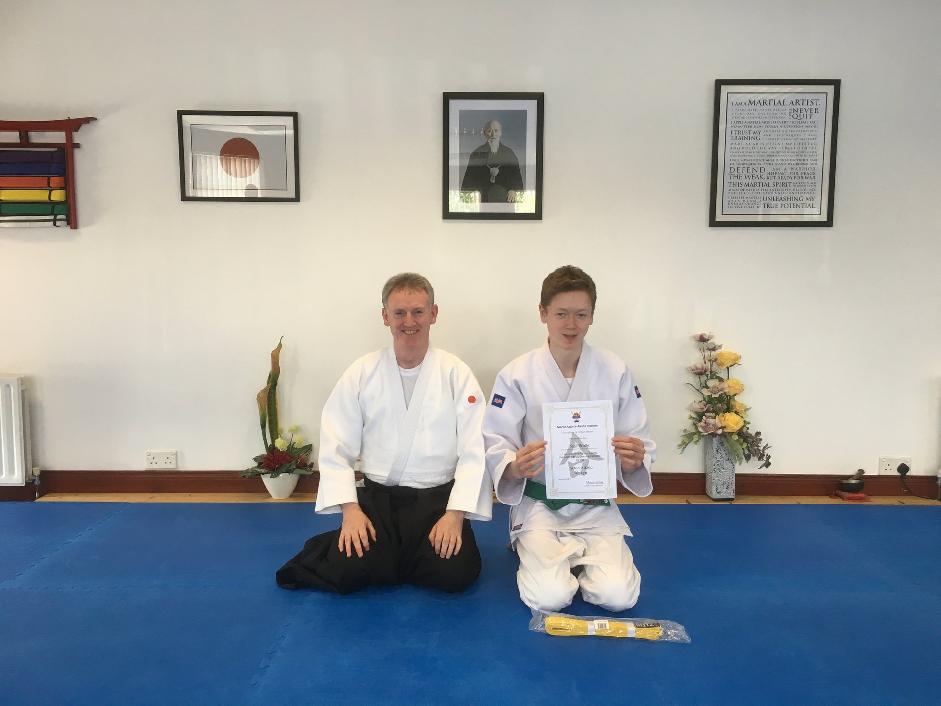Niall Brolly receiving his Aikido 9th kyu grading certification with Martin Acton sensei 3rd/6/2017 at Martin Acton's Aikido Institute
