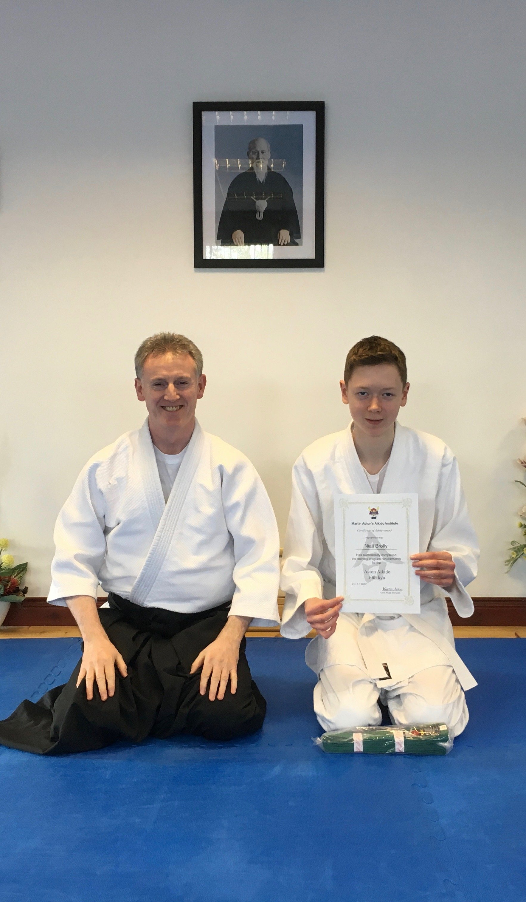 Niall Brolly receiving his Aikido 11th kyung grading with Martin Acton sensei on the 21/4/17 at Martin Acton's Aikido Institute.