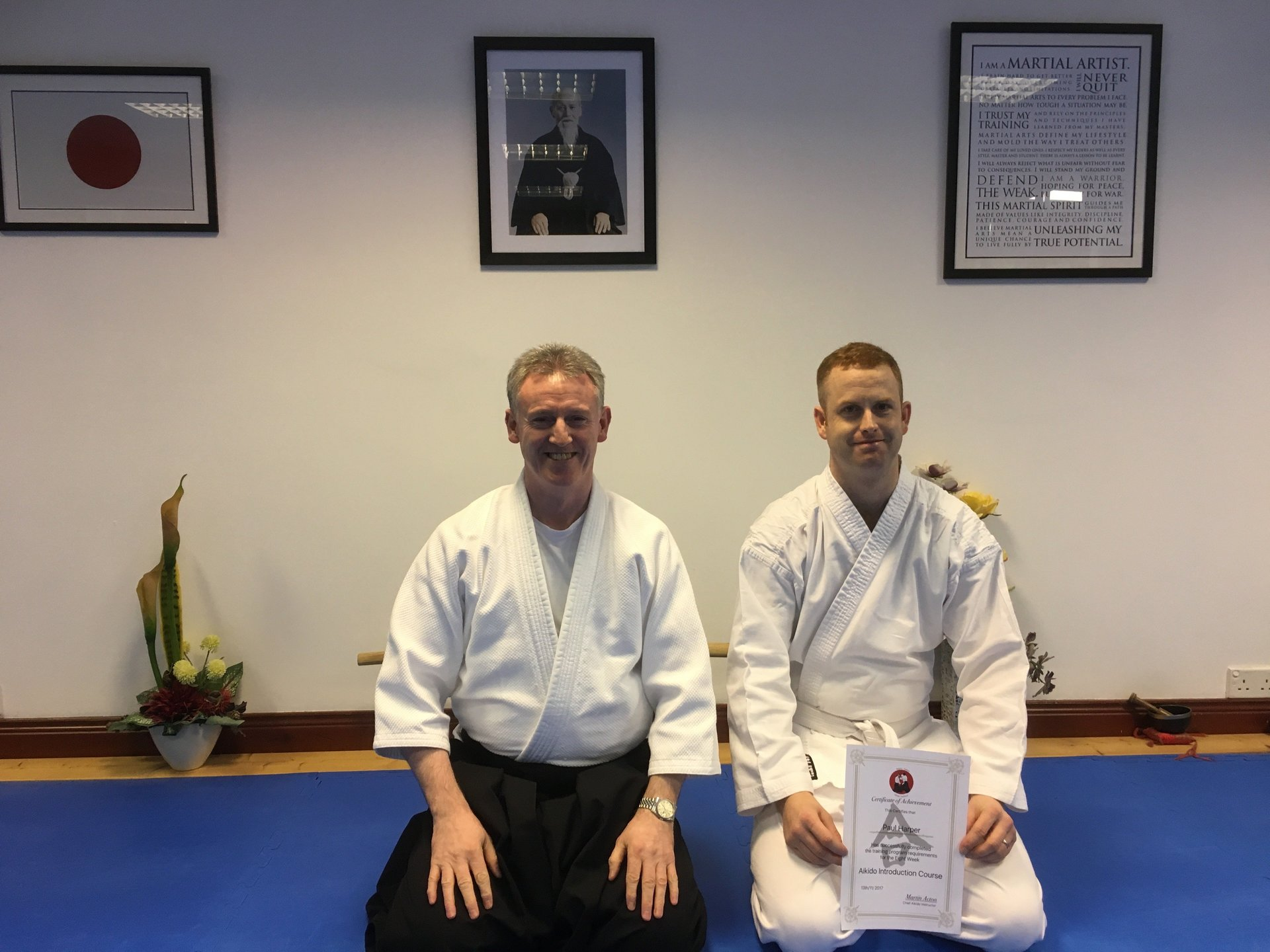 New Aikido student graduating his 8-Week Aikido Introduction Course on the 15-11-2017 at Martin Acton' Aikido Institute.