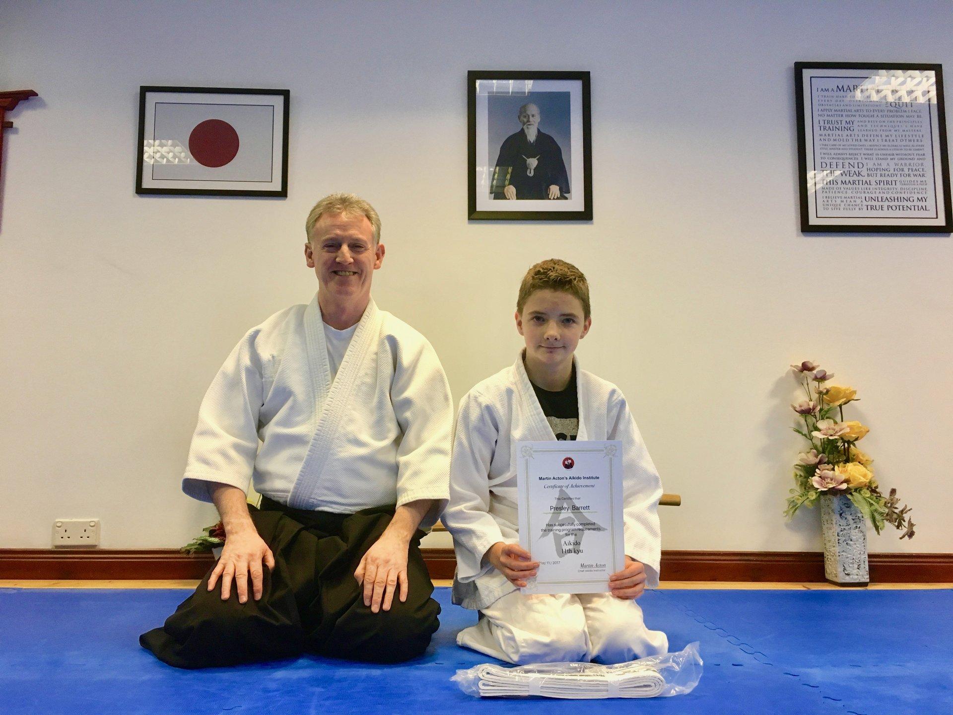 Presley Barrett recieving his Aikido 11th kyu grading with Martin Acton Sensei 28/11/2017 at Martin Acton's Aikido Institute.