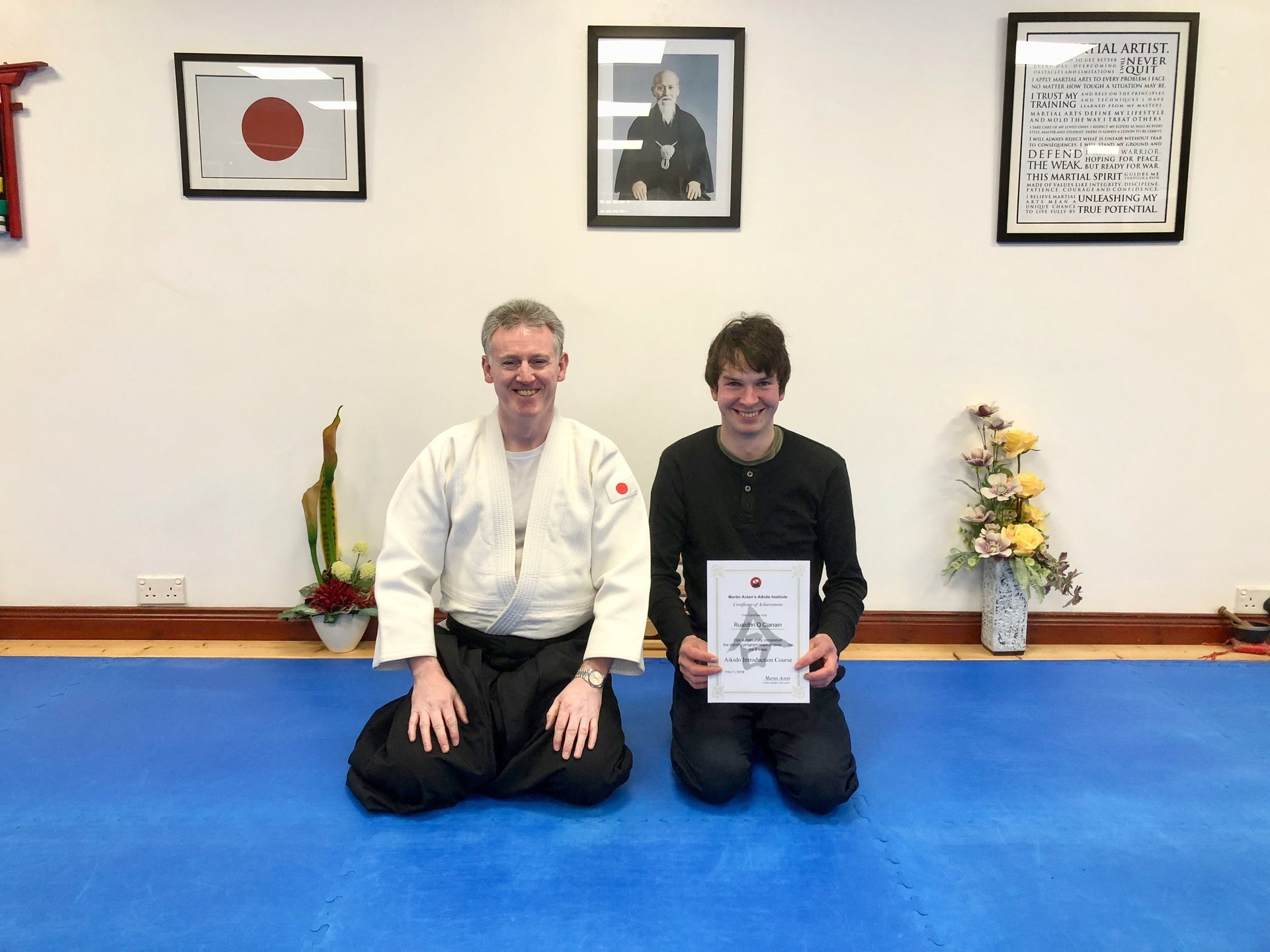 new Aikido student Ruaidhri  O Cianain receiving his certification with Martin Acton sensei on the 18/1/2018