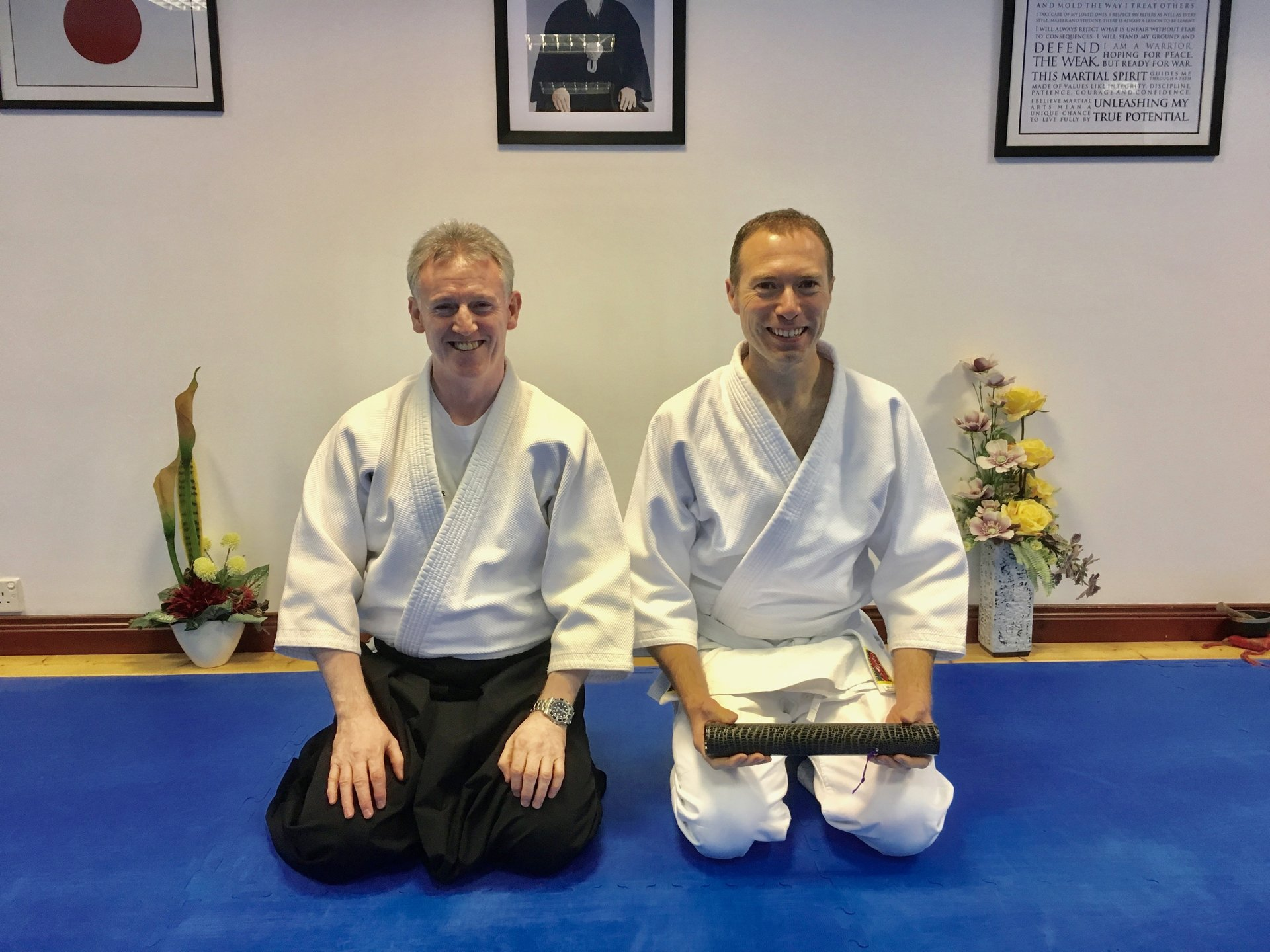 Stuart Gilmore receives his Aikido 3rd kyu grading on 30/8/2017 with Martin Acton sensei at Martin Acton's Aikido Institute