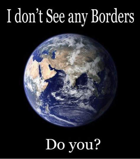 This is a poster about borders and how they don't exist physically.