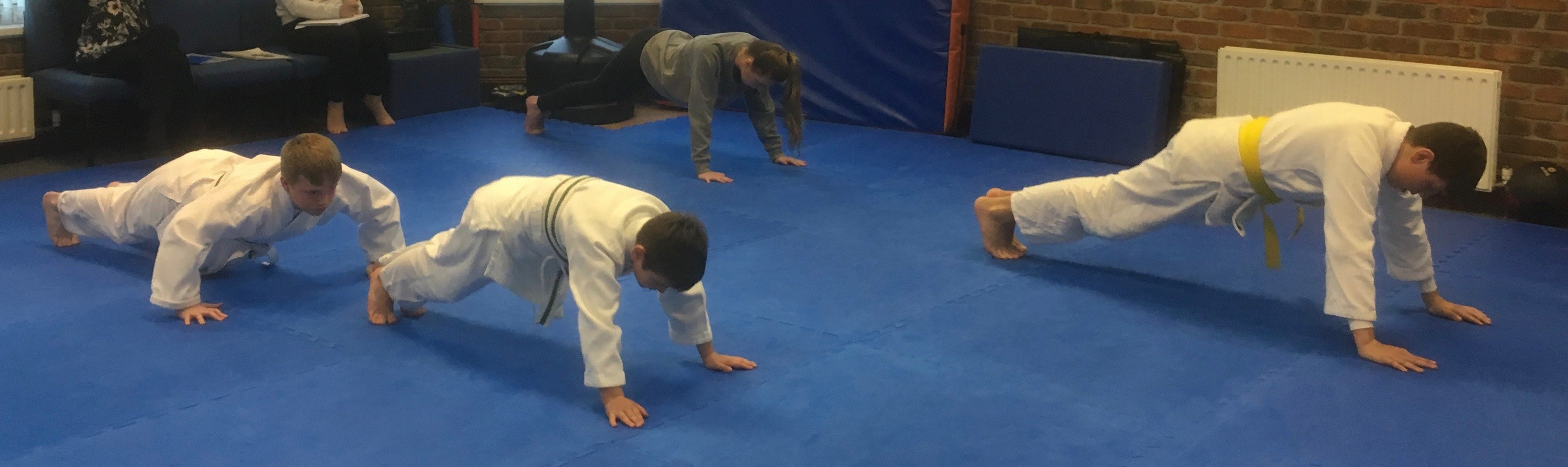 Three students doing press-ups on a blue floor
