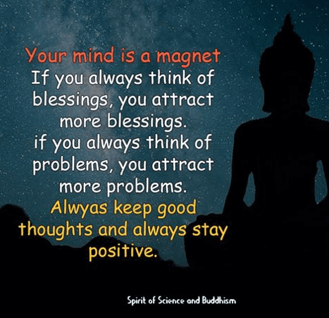 A poster saying the mind is a magnet & we should always try to have positive thoughts to attack the good things in life.