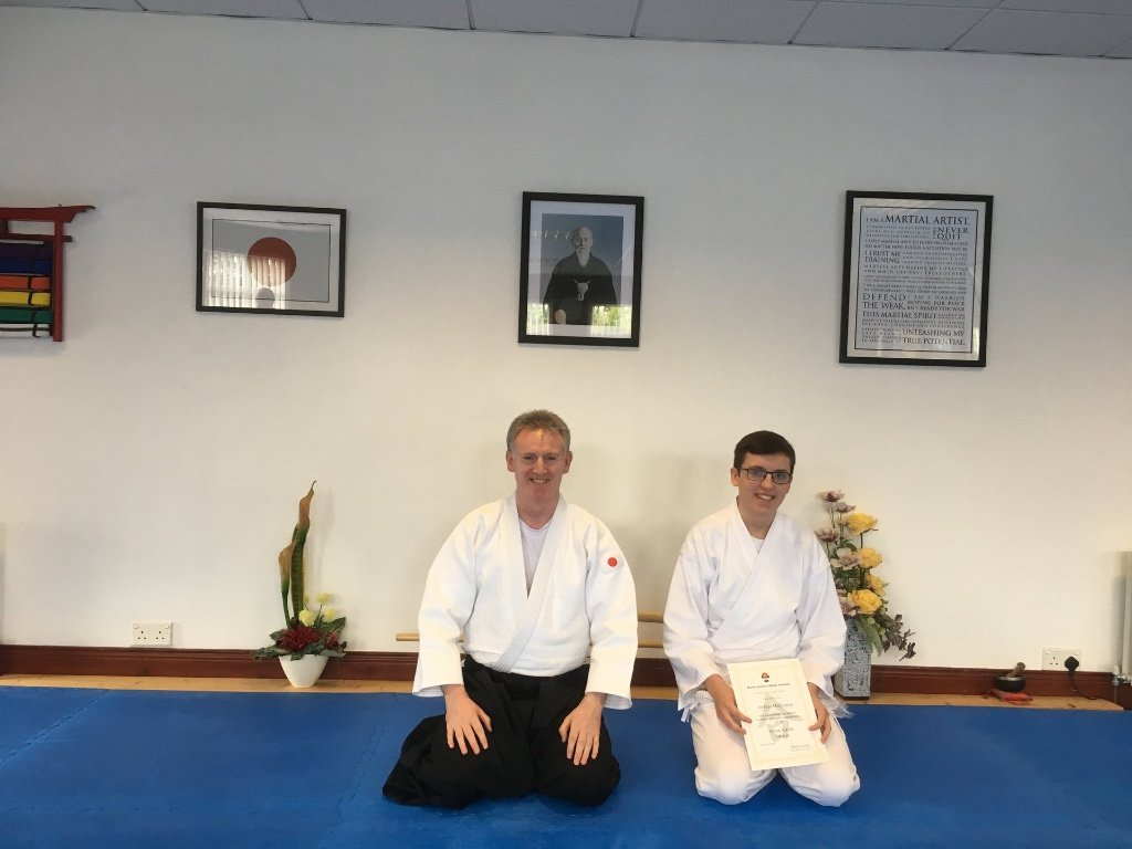 Joshua McGreevy getting his Aikido 11th kyu grading with Martin Acton sensei. On the 10th August 2017 at Martin Acton's Aikido Institute