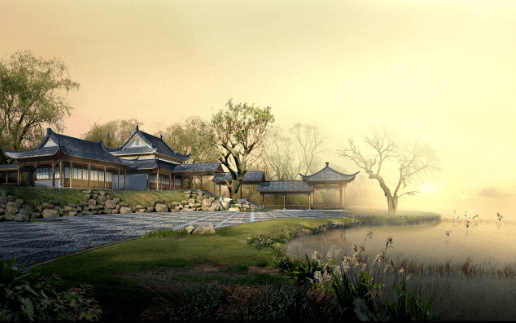 Samurai home with lake and trees