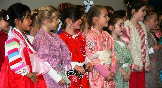 learning Japanese. Class of young girls at a Japanese language seminar. Martin Acton's Aikido Institute