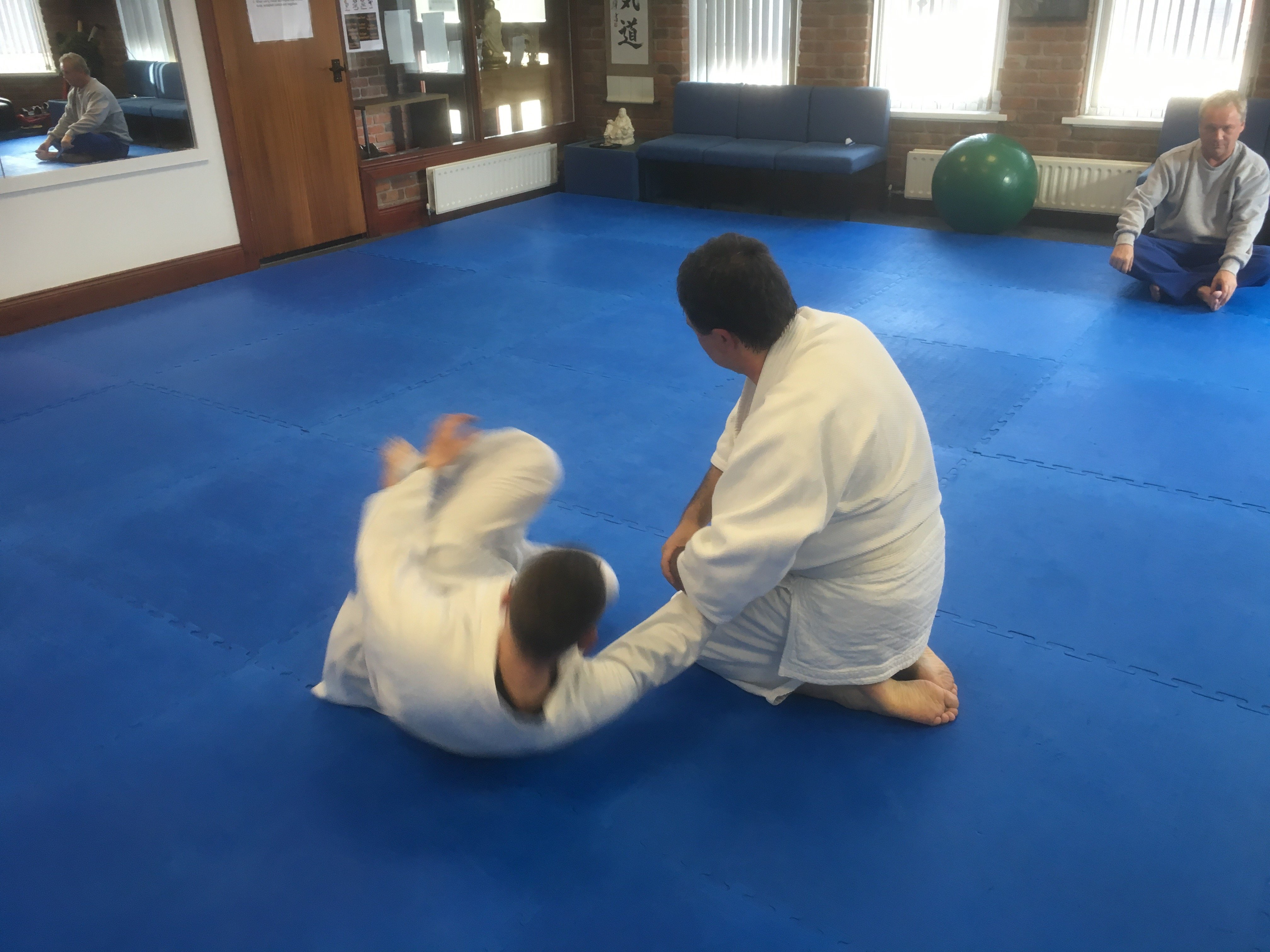 Aikido students doing trow from kneeling position