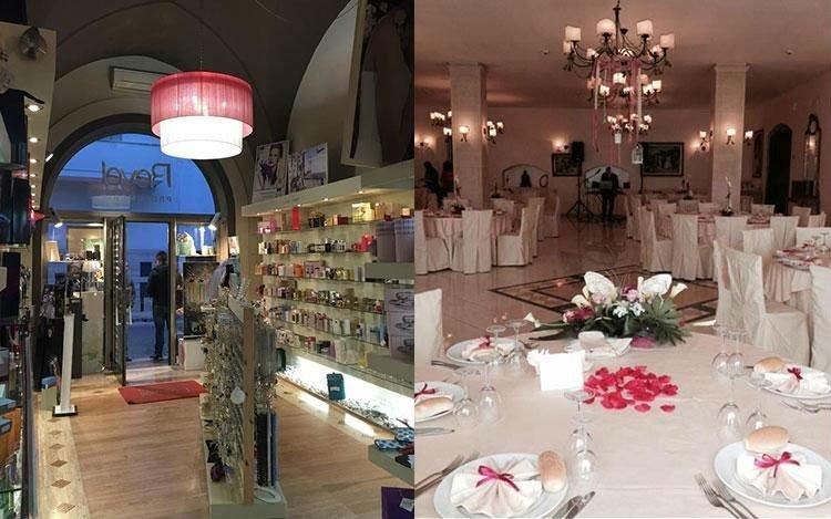 interno di un ristorante con dei tavoli e dei lampadari e l'interno di un negozio