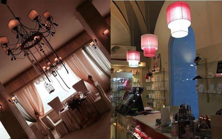 due locali con dei lampadari