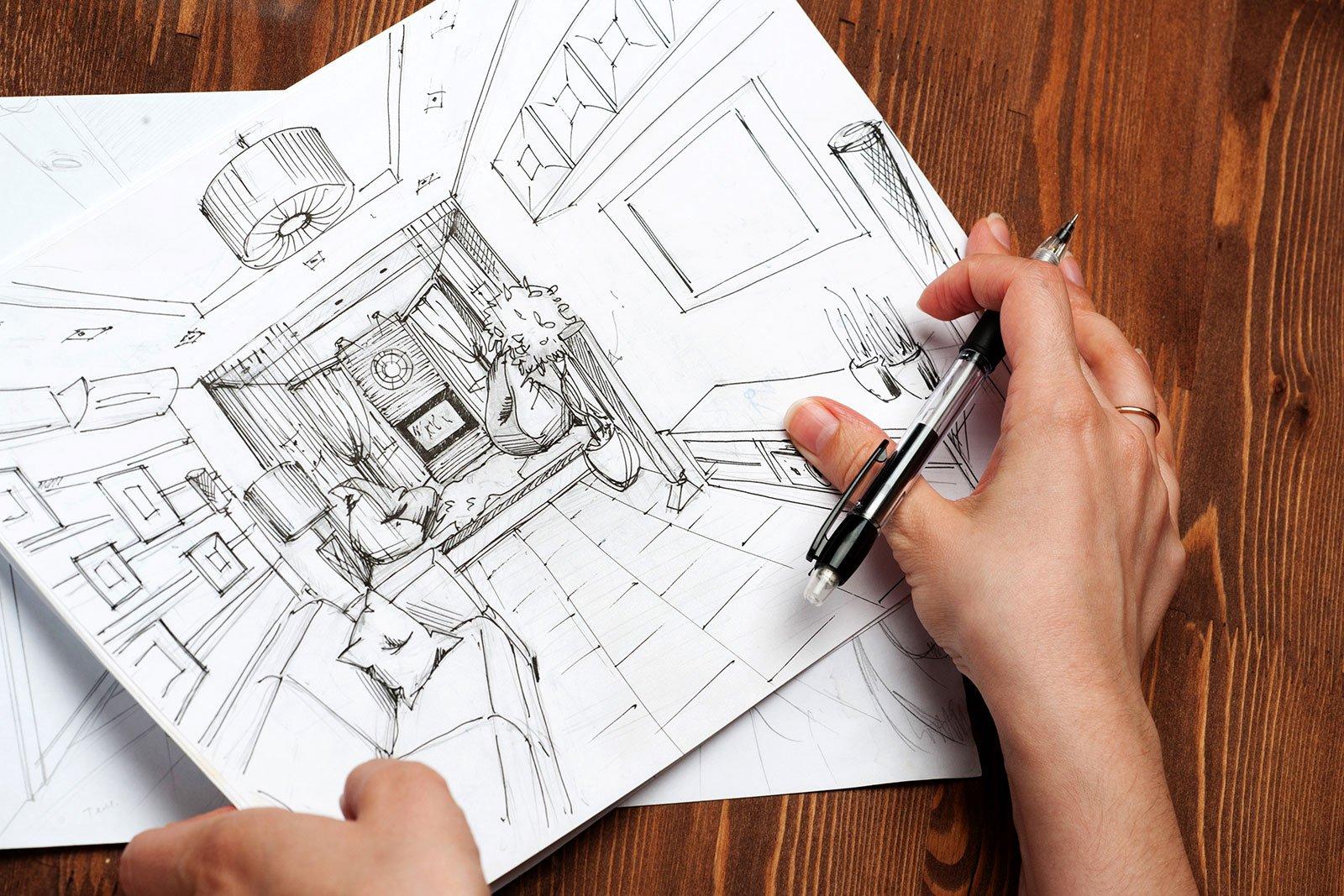 un disegno di un salotto