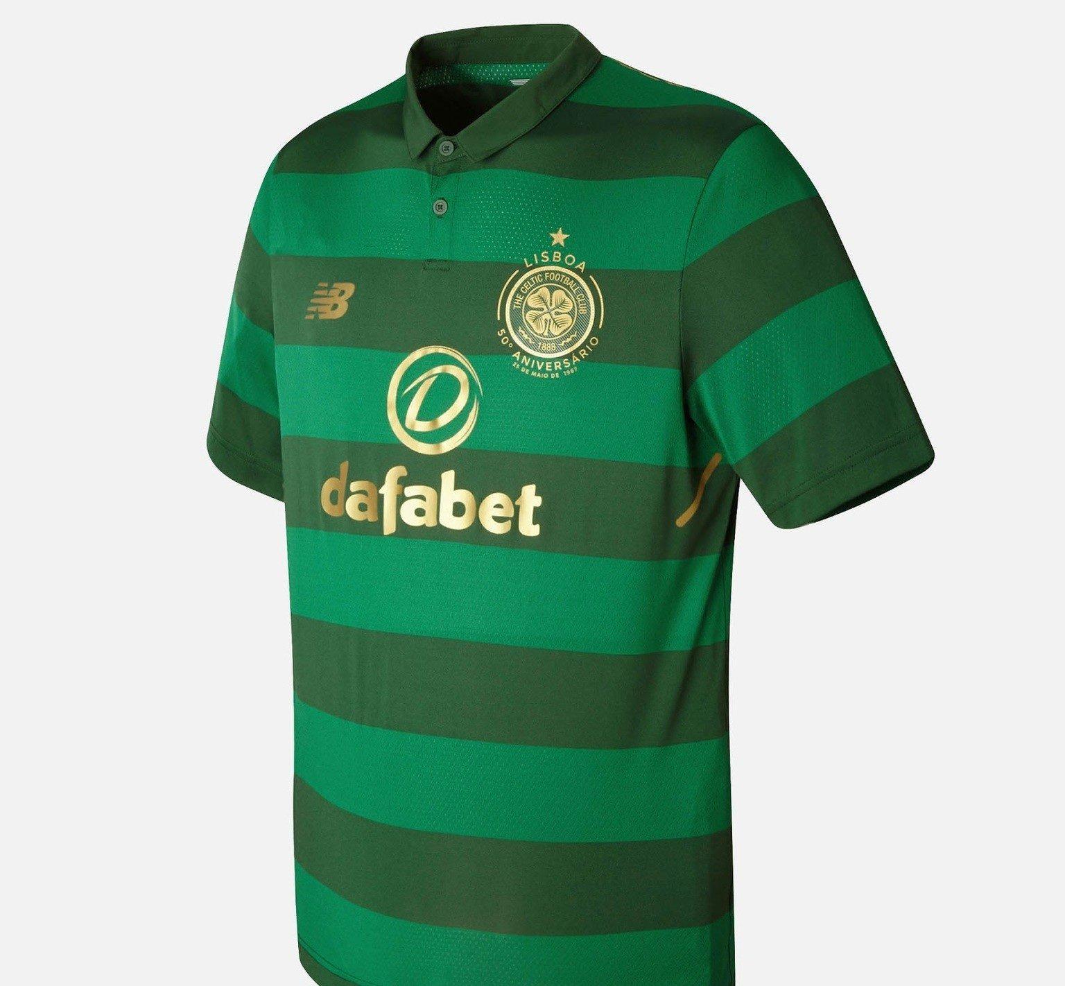 ... Celtic FC presenta nuevo uniforme de futbol de visita. La camiseta de  soccer presenta franjas horizontales en dos tonalidades de verde así como  todos ... 5b23da90dffaa
