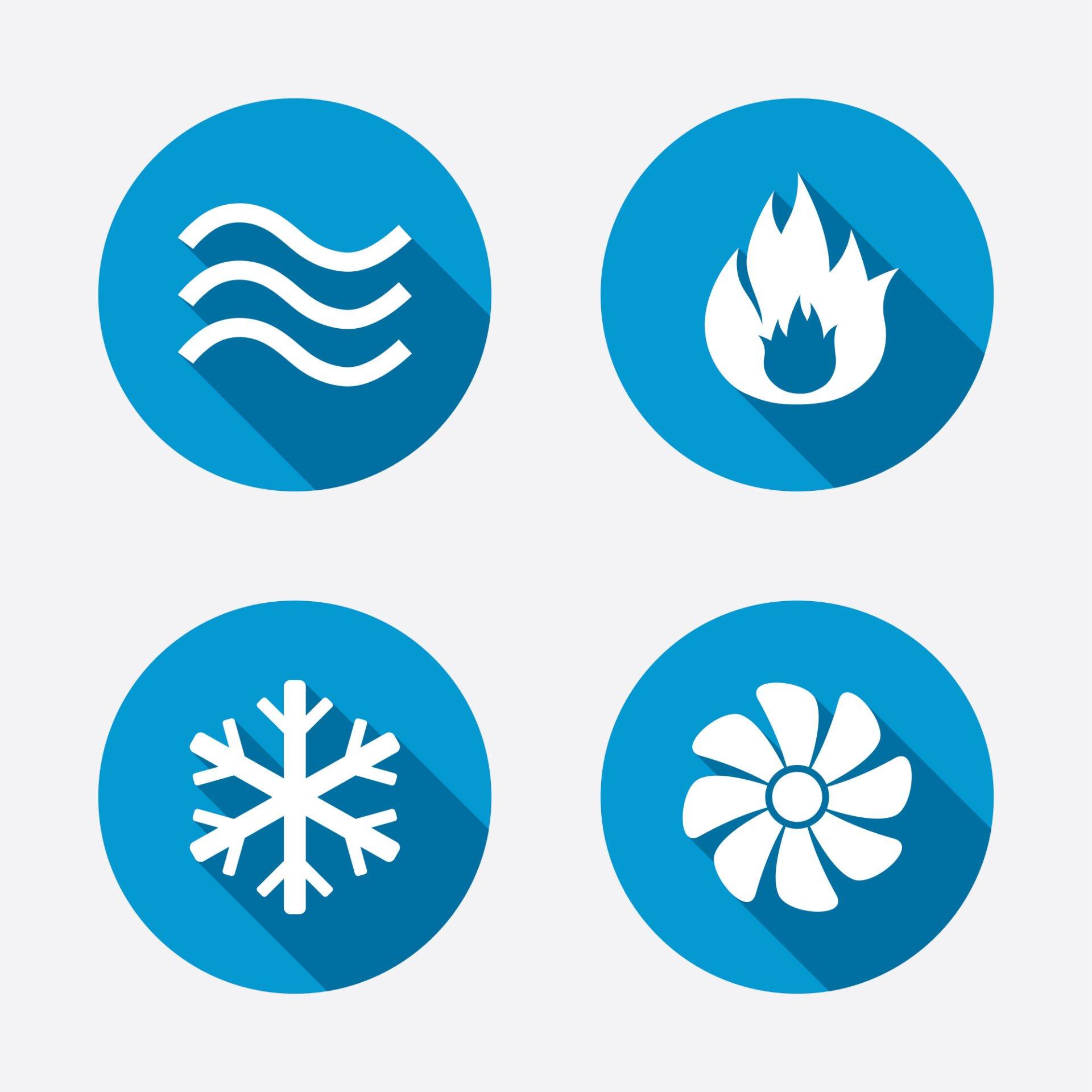 icone raffiguranti deumidificazione aria calda aria fredda e ventola