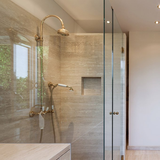 One of our glass shower screens installed in Albury