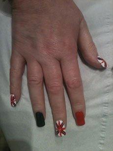 multi-coloured nail paint