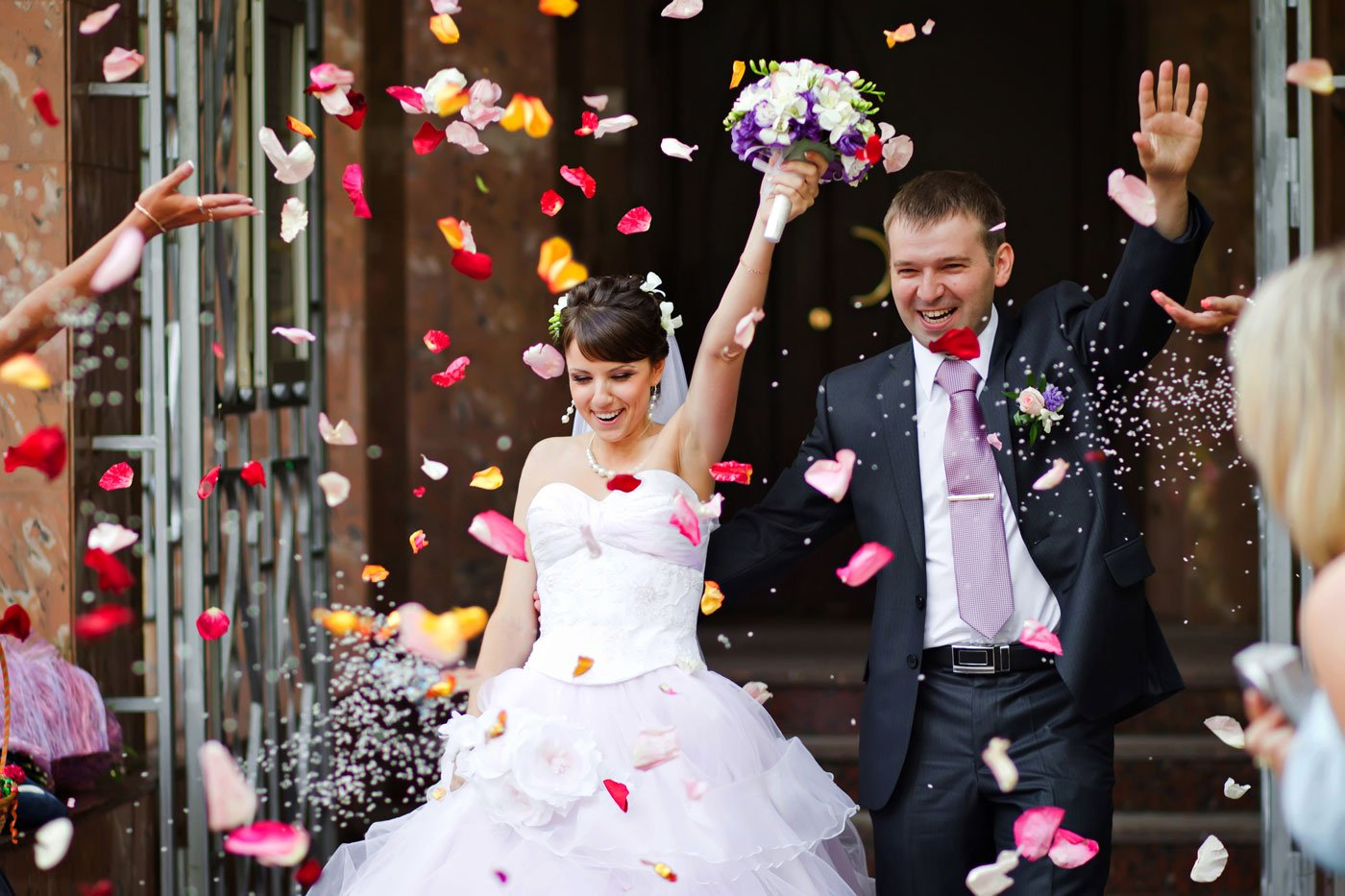 Couple celebrating after marriage