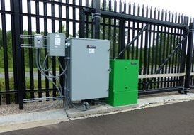 automated gate system, UPS battery backup, commercial gate, security