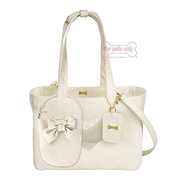 borsa bianca porta cani di piccola taglia