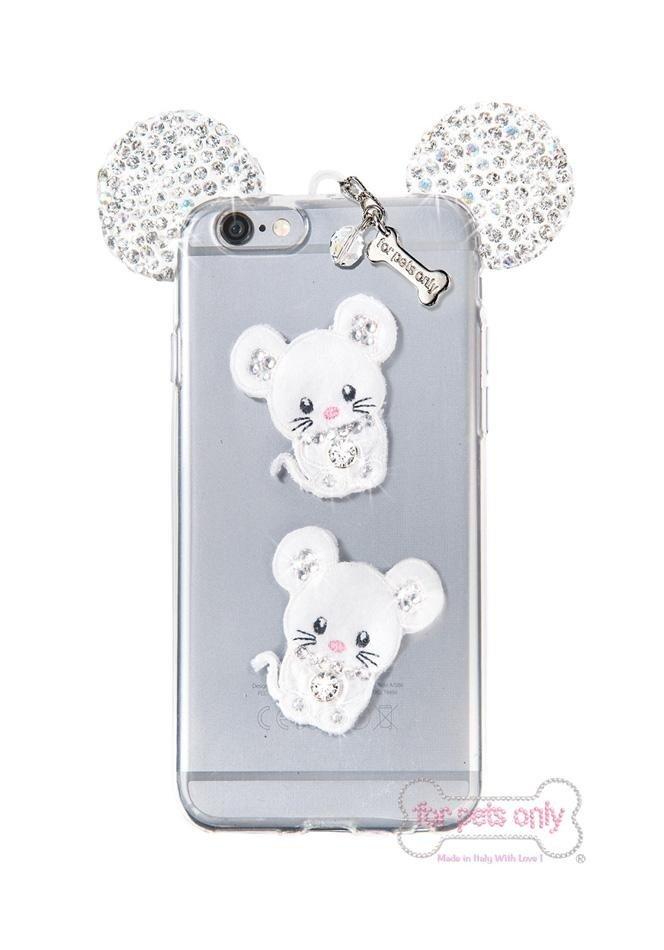 porta I-Phone con immagine di due topolini sul retro