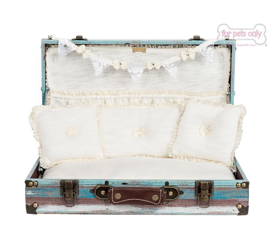 valigetta aperta con cuscini per cani