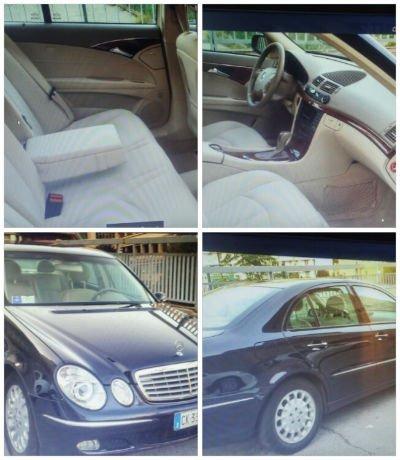 una Mercedes CLK blu scura e vista degli interni