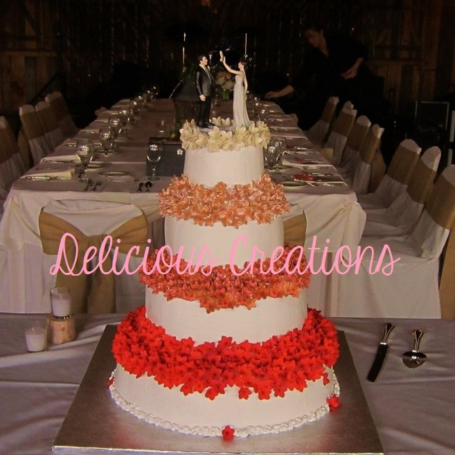 Ombre Flowers Wedding Cake | Delicious Creations near Chicago in Hickory Hills, IL