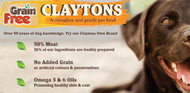 claytons own dog food grain free 50%meat oils and minerals