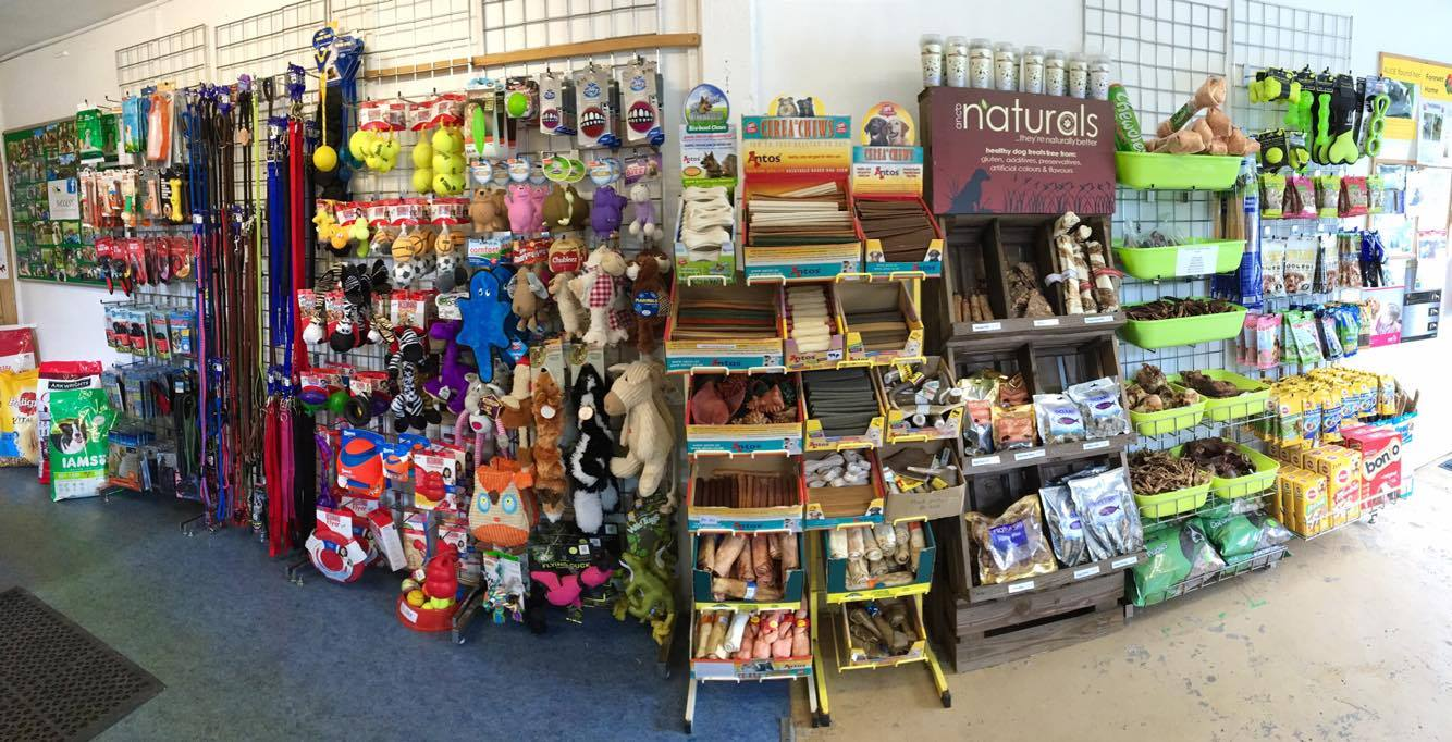 Pet shop reception with treats and food dog toys natural treats raw feeding dog food brands luxury