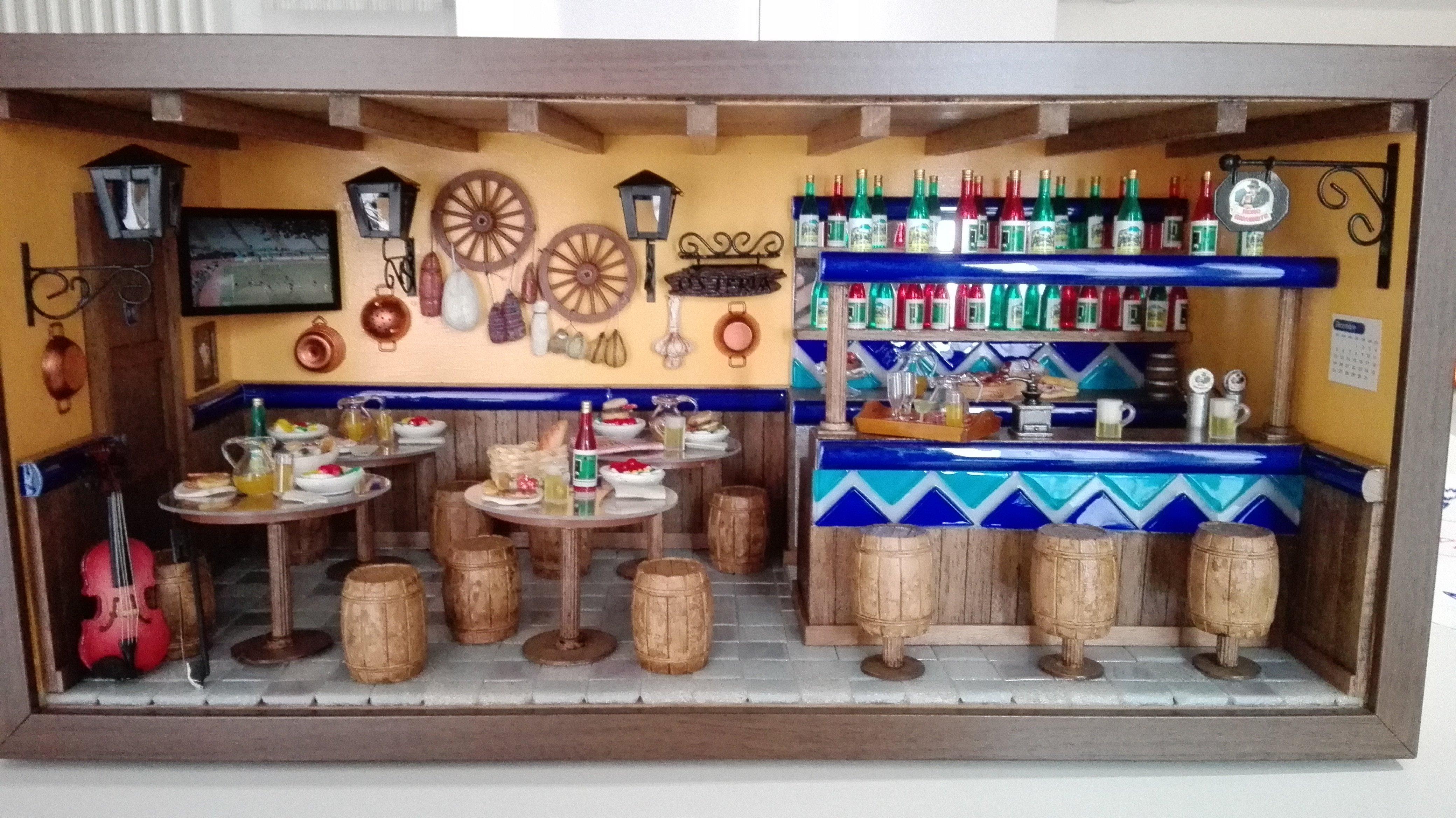 Diorama Bancone del pub e tavoli con barilotti