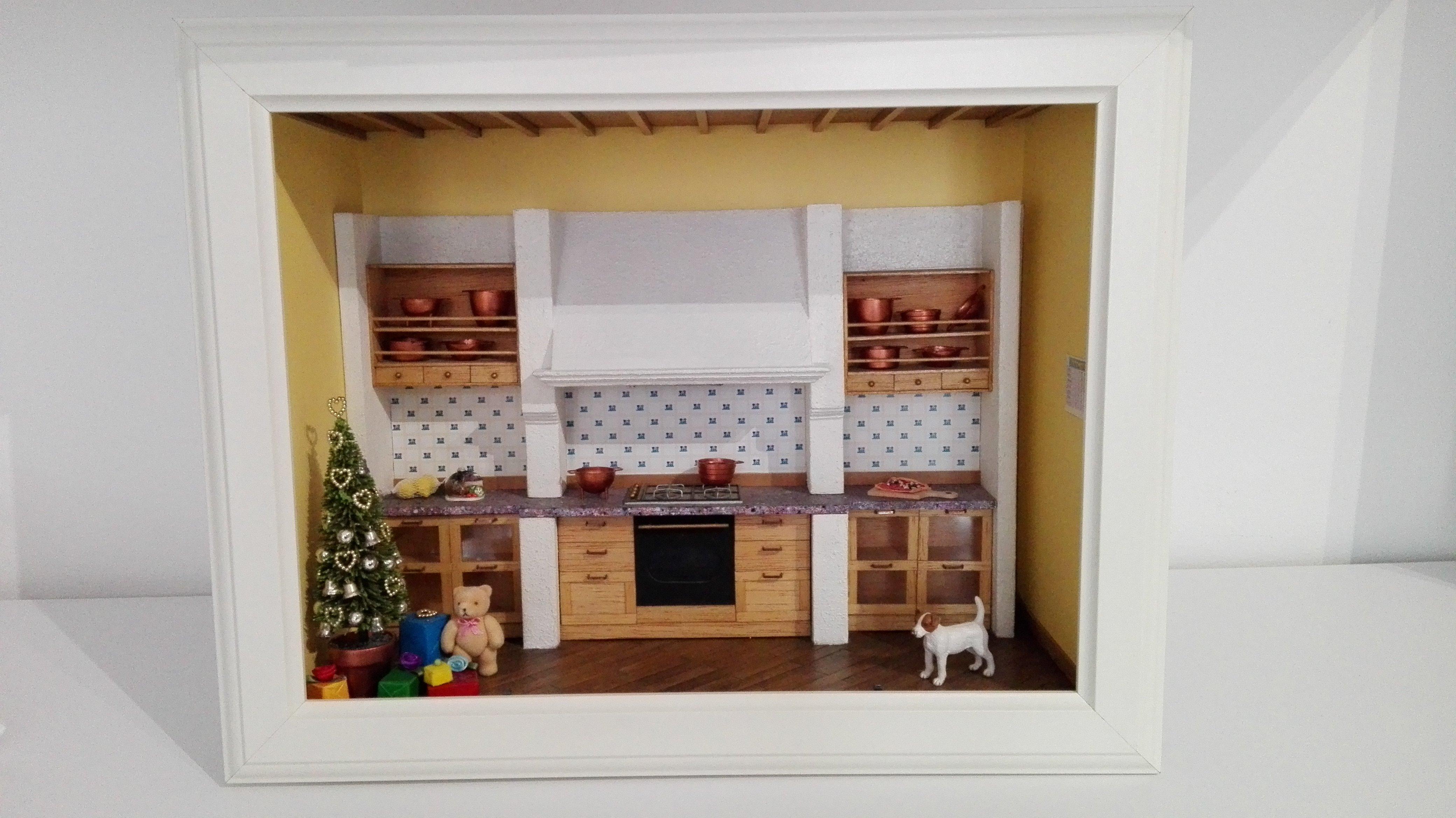 Diorama cucina con albero di natale