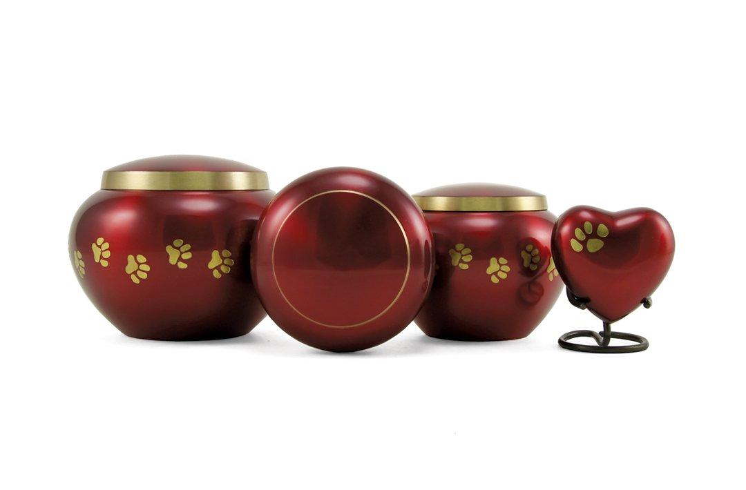 Odyssey Crimson Paw Print Urns